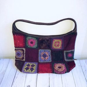 Crocheted Faux Suede Boho Hobo Bag